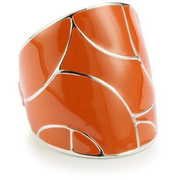 "ELLE Jewelry ""Flying Colors"" Orange Enamel Sterling Silver Ring, Size 7 - designer shoes, handbags, jewelry, watches, and fashion accessories 