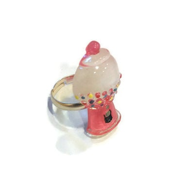 Gumball Machine Ring, Pink Adjustable Ring, Miniature Sweets, Kawaii Jewlelry, Pastel Goth Jewellery