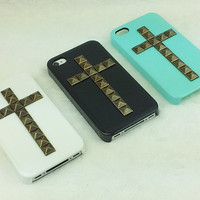 stud iphone 4 case--  pyramid studded iphone 4 ,4S case in cross style