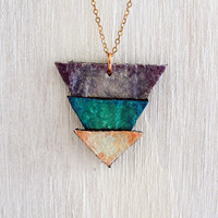 Hand painted leather necklace. Three triangles.