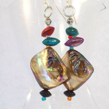 Dangle Earrings, pierced or clip, with Gold Shell and Multicolor Beads