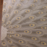"""Peacock Bursts"" Rug - Horchow - Hand-tufted wool rug with hand-carved detailing. Made of wool and viscose. Imported."