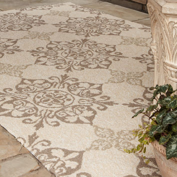 """Kennedy"" Indoor/Outdoor Rug - Horchow - UV protected and mildew resistant. Hand-hooked polypropylene rug. Imported."