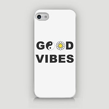 Good Vibes - YinYang & Daisy Design - Hard Plastic Case for iPhone 5/5S - ALL SIDES PRINTED - YouniQ Art's Registered Design