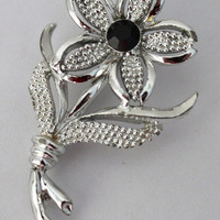 Vintage Sarah Coventry Floral Brooch Pin  silver tone black center stone costume jewelry