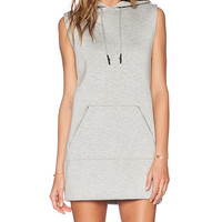 T by Alexander Wang Scuba Hooded Dress with Reflective Stripes in Gray