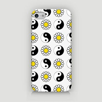 YinYang & Daisy Pattern - Hard Plastic Case for iPhone 5/5S - ALL SIDES PRINTED - YouniQ Art's Registered Design