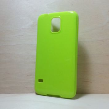 Candy Color TPU Soft Silicone case for Samsung Galaxy S5 - Grass Green