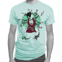 Geisha and Lucky Cat Men's Unisex T-shirt tartx