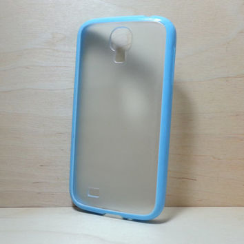 Silicone Bumper and Translucent Frosted Hard Plastic Back Case for Samsung Galaxy S4 - Light Blue