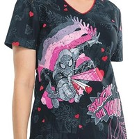 Buy Cherokee Tooniforms Women's Stuck On You V-Neck Printed Scrub Top for $22.45