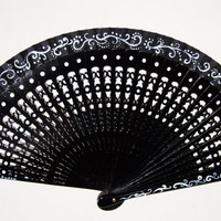 Spanish hand fan. Carved wood. Black and white. Hand painted.