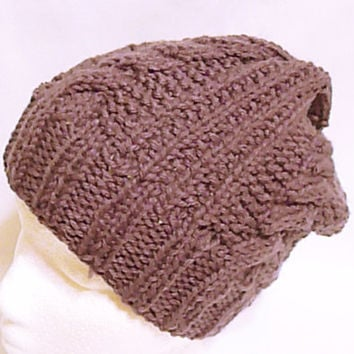 Men knit beanie in mocha, brown men hat, father gift, unisex slouch, cable knit hat, hats for guy, gift for him, mens fashion, men accessory