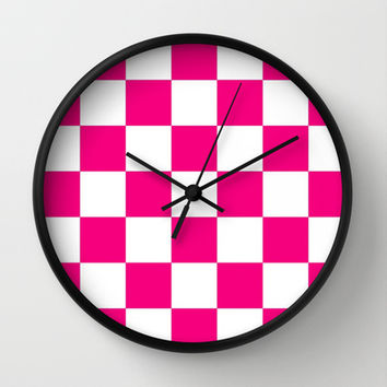 Pink And White Checkered Print Wall Clock by KCavender Designs
