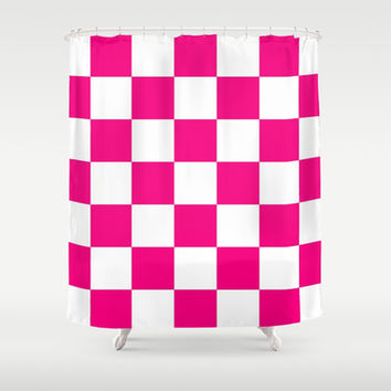Pink And White Checkered Print Shower Curtain by KCavender Designs