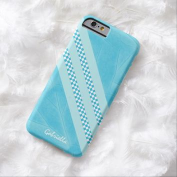 Personalized Leafy Blue Checkered Trim Case