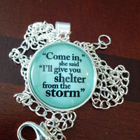 Bob Dylan lyric pendant Shelter from the Storm silver jewelry