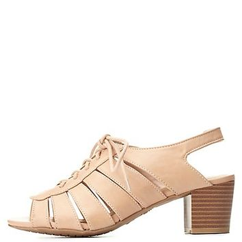 Bamboo Cut-Out Low Heel Lace-Up Sandals by Charlotte Russe - Nude