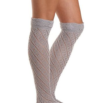 Pointelle Over-the-Knee Socks by Charlotte Russe