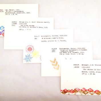 Set of 5 literary postcards, library card catalog cards, book postcards, reading postcards, abstract…