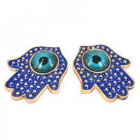 Blue Hamsa Hand Earrings by Julyjoy