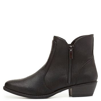 Qupid Textured Almond Toe Ankle Boots by Charlotte Russe - Black