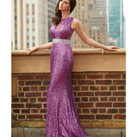 Madison James Fuchsia Sequin Open Back Gown Prom 2015