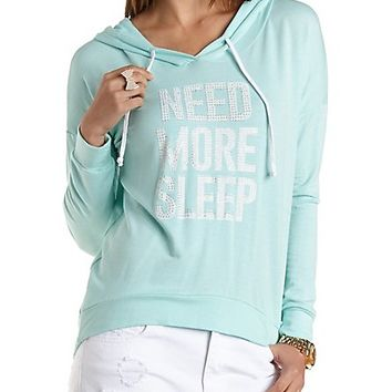 Jeweled Need More Sleep Graphic Hoodie by Charlotte Russe - Mint