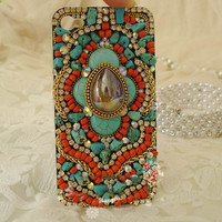 SALE Custom Handmade Vintage Bohemia Style iPhone case , iPhone 4s case, iPhone 4 case Hard iPhone Case Cover