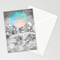 Put Your Thoughts To Sleep (Winter Moon / Wolf Spirit) Stationery Cards by Soaring Anchor Designs