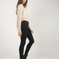 Ribbed Textured Leggings - Black - Black /