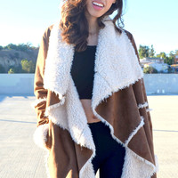 Drape Over Shearling Jacket