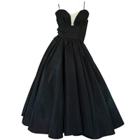 1950s Daisy Sweetheart Bust Black Dress