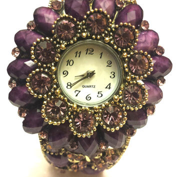 Jewelry Inspired Luxe Purple Watch