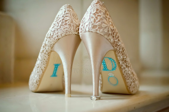 BLUE &quot;I Do&quot; Wedding Shoe Rhinestone Applique