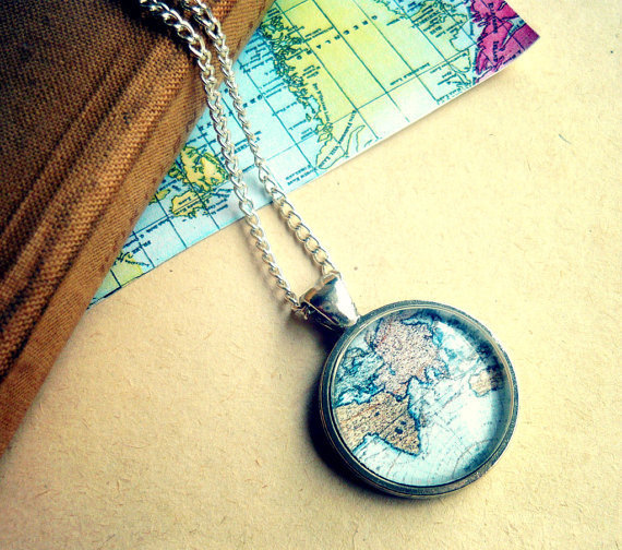 Vintage Silver World Map Long Necklace - Free Shipping - Made to order :)
