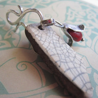 Raku and Red a Pendant of Seapottery and Sterling Handmade Etsy Metal Jewelry