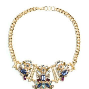 Gem Show Jeweled Chained Necklace