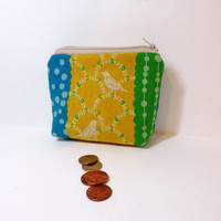 Small Zipper Pouch Coin Purse Small Wallet Cotton Linen Gold Bird Flowers and Dots