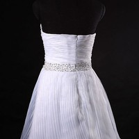 Organza Strapless Sweetheart A-line Simple Wedding Dress - Basadress.com