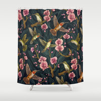 Hummingbird Pattern Shower Curtain by Kate O'Hara Illustration