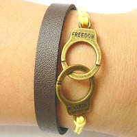 Bracelet - bracelet antique bronze handcuffs bracelet, leather bracelet
