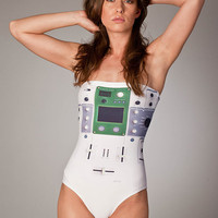 "Free Shipping Worldwide Swimsuit One Piece ""White DJ Mixer"""