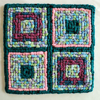 "Locker Hooking Pot Holder / Mat / Hot Pad / Trivet -  Lime Green, Turquoise, Pink, Purple and Blue - 9-1/4"" x 9-1/4"""