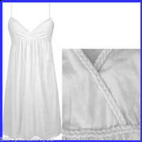 AEROPOSTALE WHITE BRAIDED CROSS BODICE EMPIRE HALTER TOP TANK DRESS Womens Sz S on eBay!
