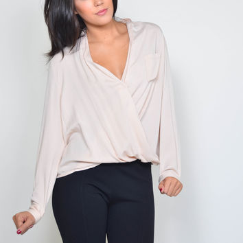 Blush Surplice Long Sleeve Blouse