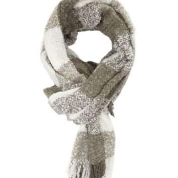 Marled Check Fringe Scarf by Charlotte Russe - Gray Combo