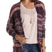 Mixed Stitch Cardigan Sweater by Charlotte Russe - Navy Combo