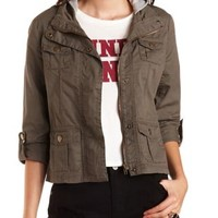 Hooded Twill Utility Jacket by Charlotte Russe - Olive Combo