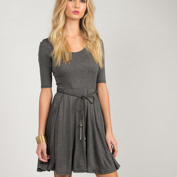 Belted A-Line Dress - Charcoal - Charcoal /